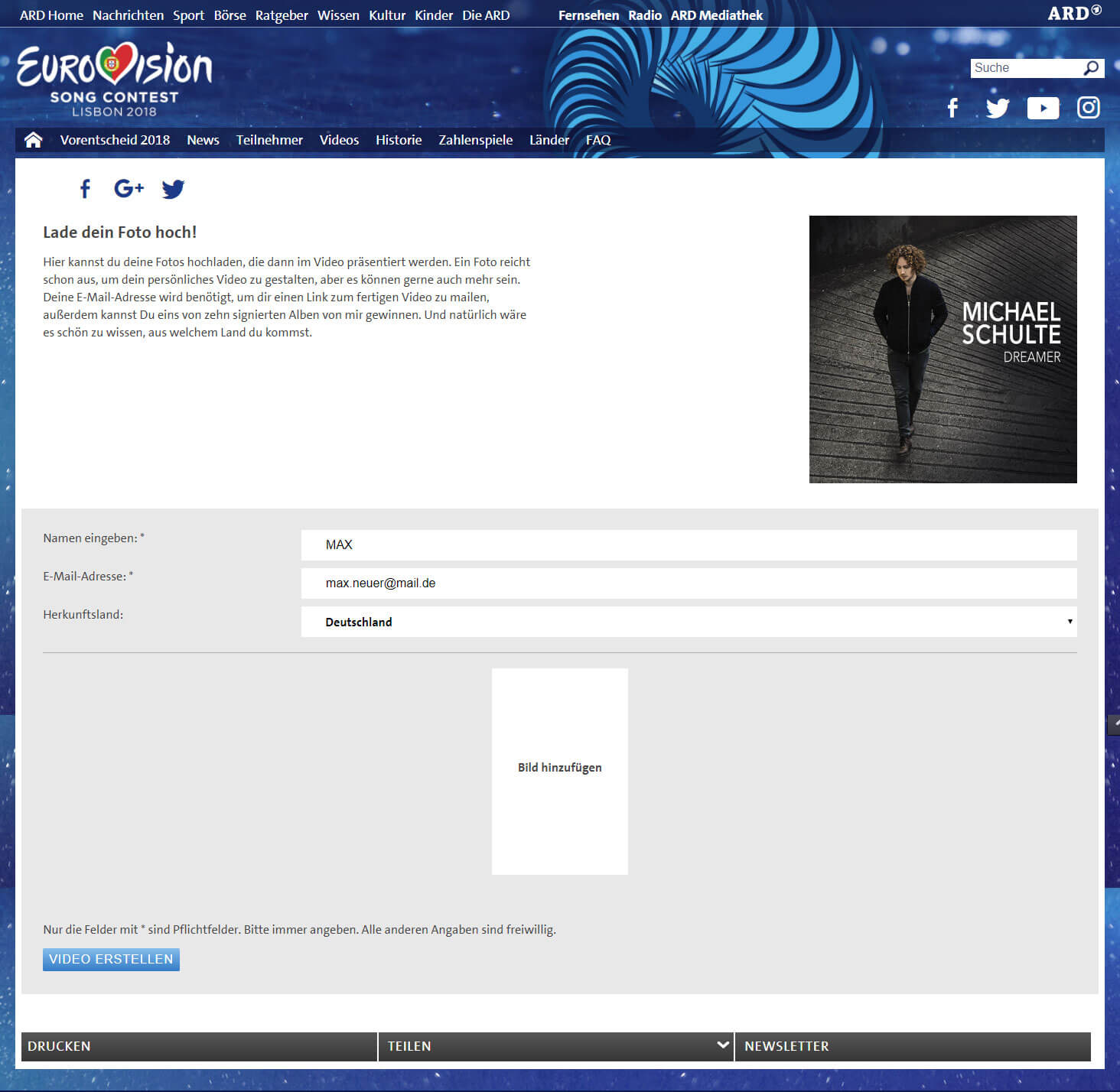 Video Personalisierung für Eurovision Song Contest Interface