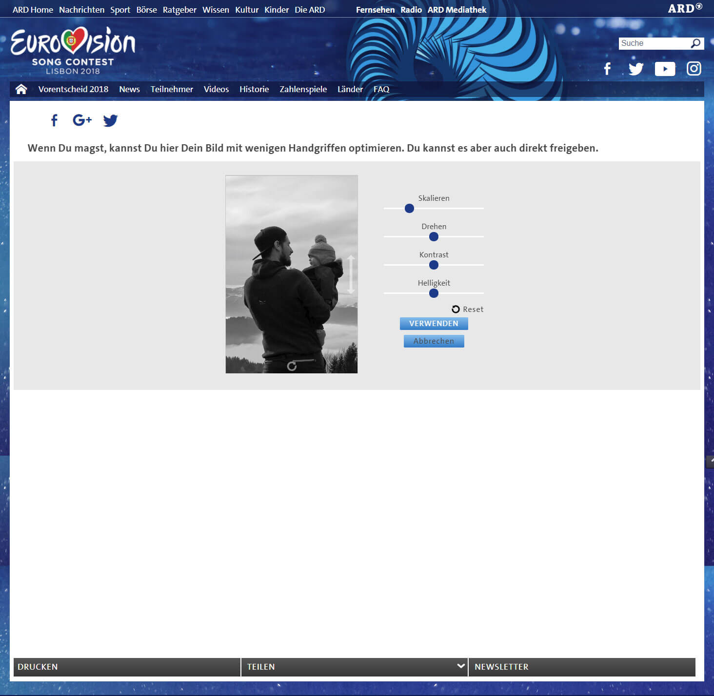 Video Personalisierung für Eurovision Song Contest Interface 02