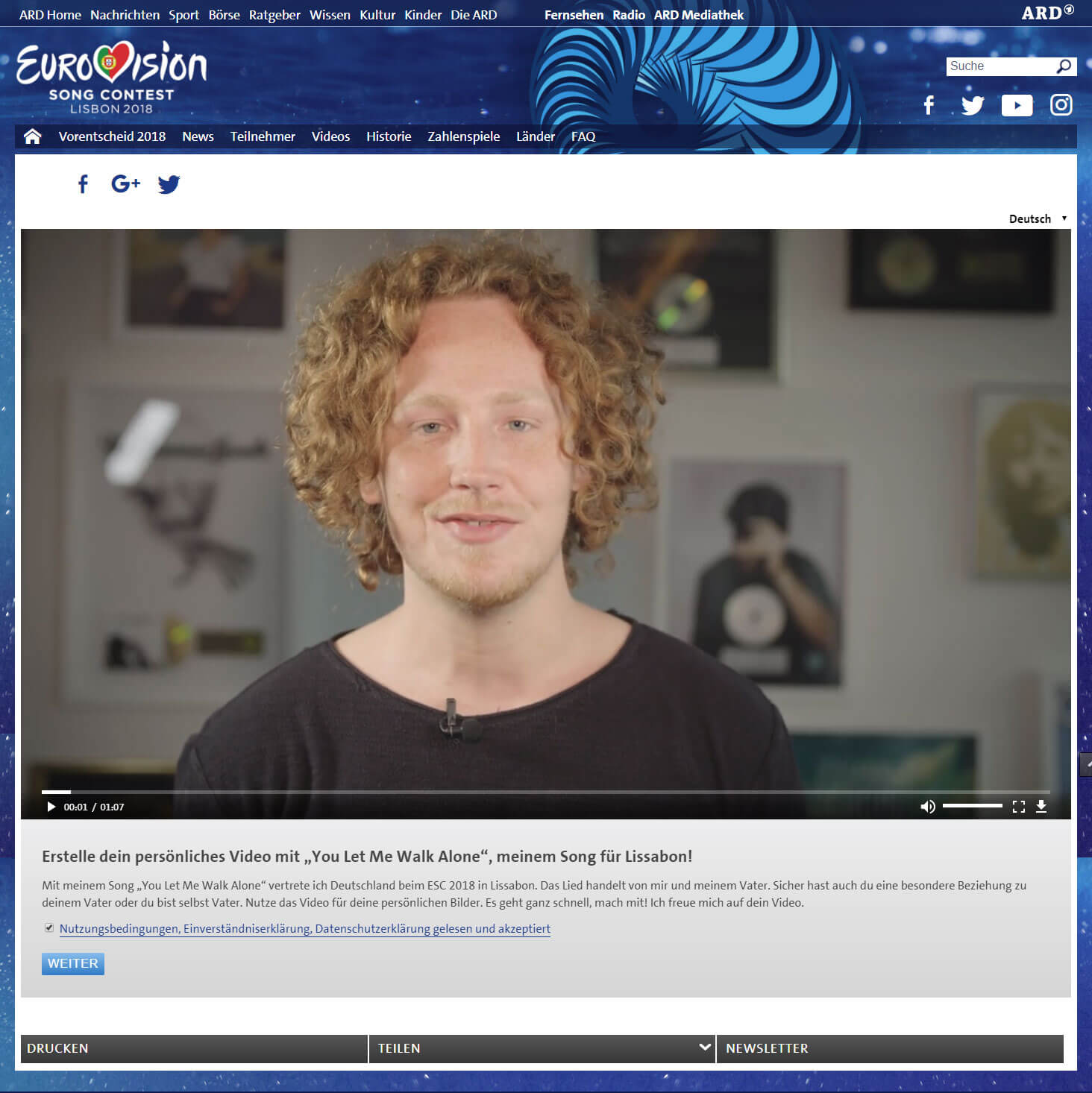 Video Personalisierung für Eurovision Song Contest Interface 03
