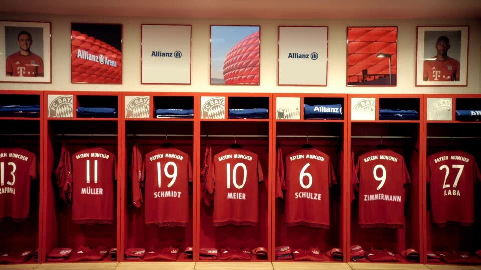 Personalisiertes Motivationsvideo für Allianz FC Bayern mit DDD Hamburg Umkleidekabine 02
